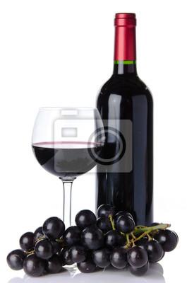 Bild Flasche und Glas Wein mit schwarzen Trauben