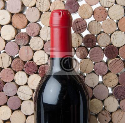 Bild Flasche Wein auf dem Hintergrund der Korken