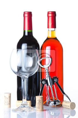Bild Flasche Wein mit einem Glas und ein Korkenzieher