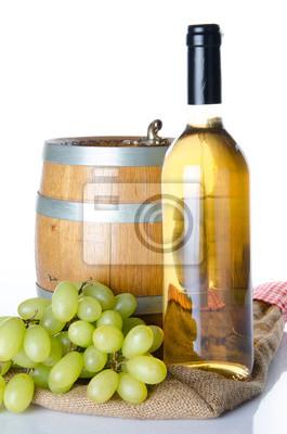 Bild Flasche Wein mit weißen Trauben und ein Fass auf einem Leinensack