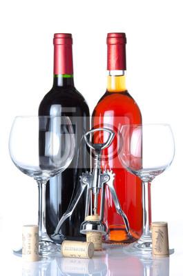 Bild Flasche Wein mit zwei Gläser und einen Korkenzieher