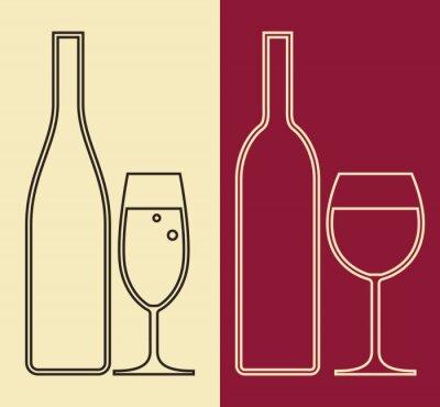 Bild Flaschen und Gläser Wein und Champagner