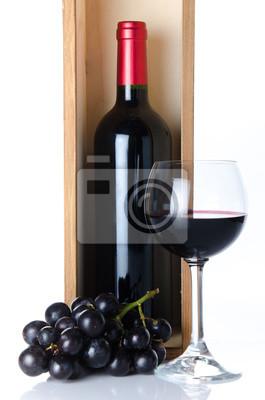Bild Flaschen Wein in einer Holzkiste mit einem Glas Wein und schwarzen g