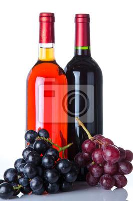 Bild Flaschen Wein und Trauben