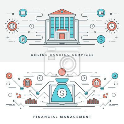 Bild Flat Line Banking Und Finanzmanagement Konzept Vektor Illustration.  Moderne Dünne Lineare Strich