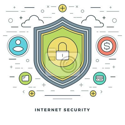 Elegant Bild Flat Line Business Konzept Internet Sicherheit. Abbildung. Moderne  Dünne Lineare Strich