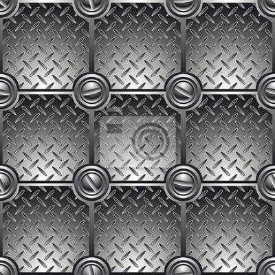 Fliesen-Metall-Hintergrund mit Schrauben verbunden.