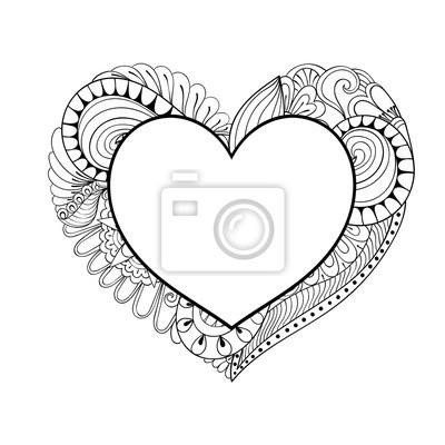 Floral doodle herz rahmen in zentangle-stil für erwachsene färbung ...