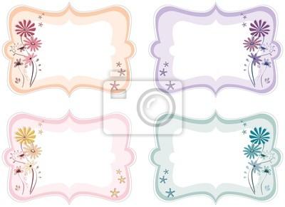 Floral Etiketten in verschiedenen Farben