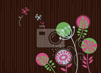 Floral Hintergrund mit Cartoon Libellen