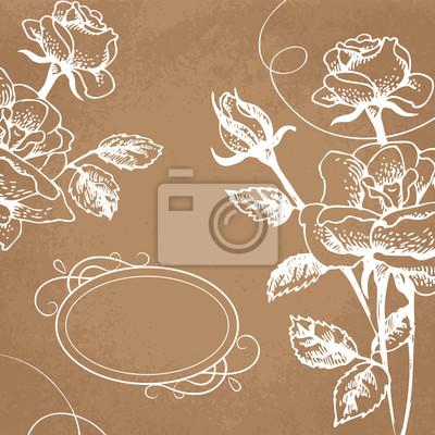 Floral Hintergrund mit Rosen und Rahmen