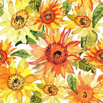 Bild Floral nahtlose Muster mit Sonnenblumen gezeichnet Aquarell.