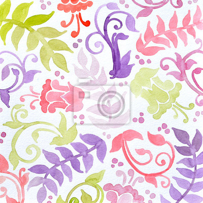 Bild floral pattern watercolor painting in green yellow and purple pink. Abstract flowers ferns swirls and curl designs in pretty random pattern. Hand painted watercolor background.