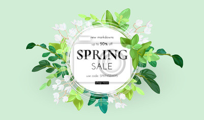 Bild Floral spring design with white flowers, green leaves, eucaliptus and succulents. Round shape with space for text. Banner or flyer sale template, vector illustration.