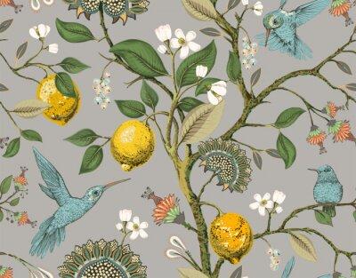 Bild Floral vector seamless pattern. Botanical wallpaper. Plants, birds flowers backdrop. Drawn nature vintage wallpaper. Lemons, flowers, hummingbirds, blooming garden. Design for fabric, textile, paper