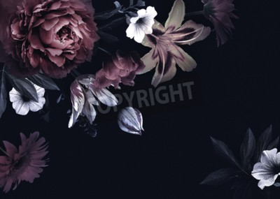 Bild Floral vintage card with flowers. Peonies, tulips, lily, hydrangea on black background.  Template for design of wedding invitations, holiday greetings, business card, decoration packaging