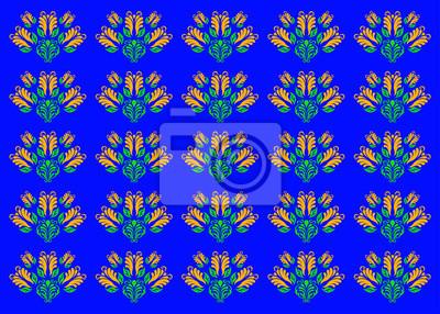 Florale Ornamente auf blauem Hintergrund