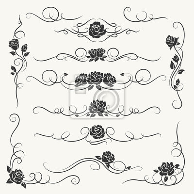 Flourish Rosen Ornament Vektor Illustration Ornamental Rose