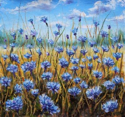Bild Flower Field. Blue flowers in meadow. Blue sky. Oil painting.