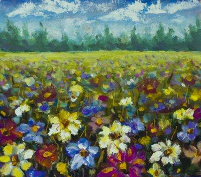 Bild Flowers field oil painting.