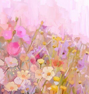 Bild Flowers field oil painting,soft color-blur style