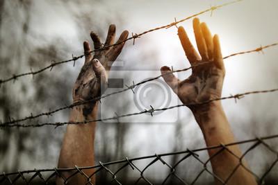 Bild Flüchtlingsmänner und Zaun