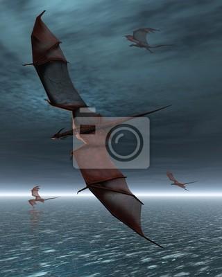Flug der Red Dragons über die Moonlit Meer
