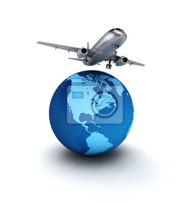 Bild Flugzeug fliegt über den Globus