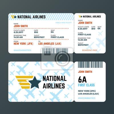 Flugzeug flug bordkarte isoliert vektor vorlage leinwandbilder ...