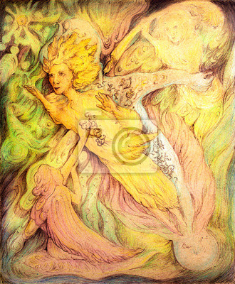 Flying golden sun spirit and cosmical writers, detailed colorful