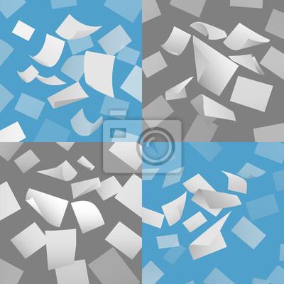 Bild Flying leere Blatt Papier Vektor gesetzt. Blank Papier, Blatt Papier fliegen, Seite papper Dokument Illustration