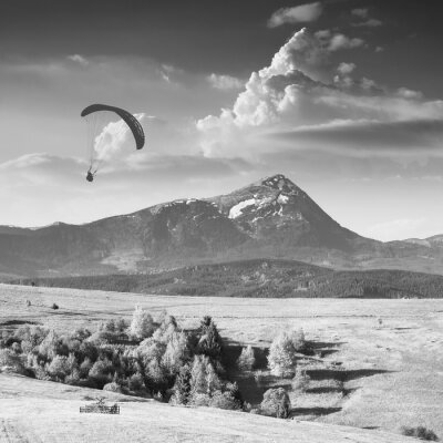 Flying over Carpathian spring mountain valley. Monochrome