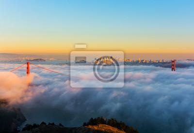 Bild Foggy Tag in San Francisco Kalifornien bei Sonnenuntergang