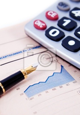 fondo de negocios con graficos, calculadora y pluma