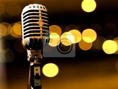 fondo musikalischen con microfono y luces de escenario