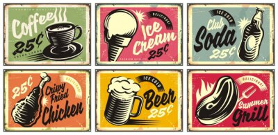 Bild Food and drinks vintage restaurant signs collection. Set of retro advertisements for coffee, beer, ice cream, club soda, grill and fried chicken. Vector illustration.