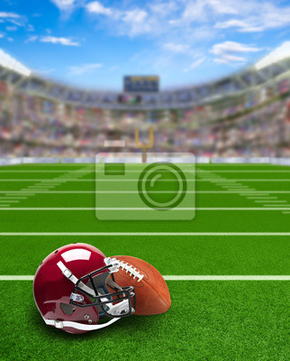 Football Stadium With Equipment on Field and Copy Space
