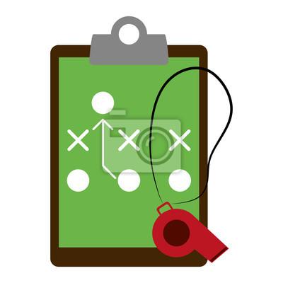 Football strategy on clipboard