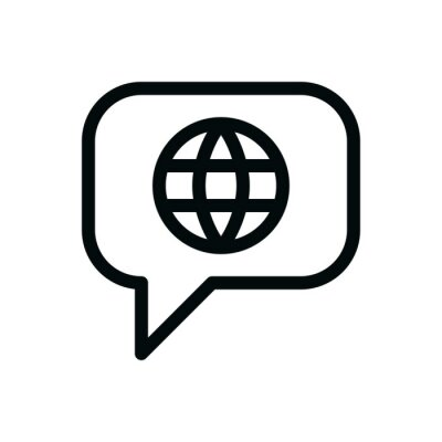 Bild Foreign language talk bubble isolated icon, international communication linear vector icon
