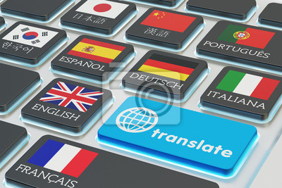 Bild Foreign languages translation concept, online translator, macro view of computer keyboard with national flags of world countries on keys and blue translate button
