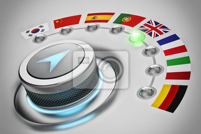 Bild Foreign languages translation concept, online translator, multi-language switch selector with flags of the world countries