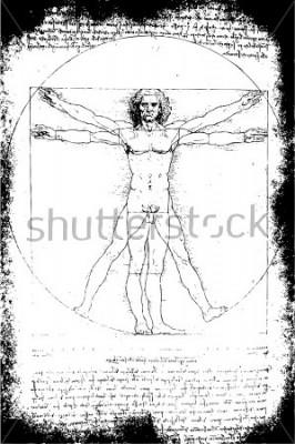 Bild Foto des Vitruvian Man von Leonardo Da Vinci aus dem Jahr 1492 auf strukturiertem Hintergrund.