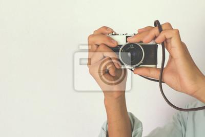 Bild Fotograf Schießen - Vintage und Retro-Filter-Effekt-Stil