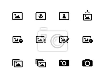 Fotos und Kamera-Symbole auf weißem Hintergrund.