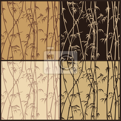 Bild Four seamless bamboo texture in shades of brown