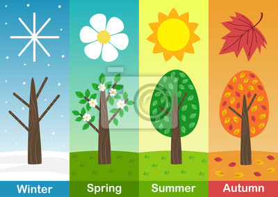 Bild four seasons banners with  trees  - vector illustration, eps