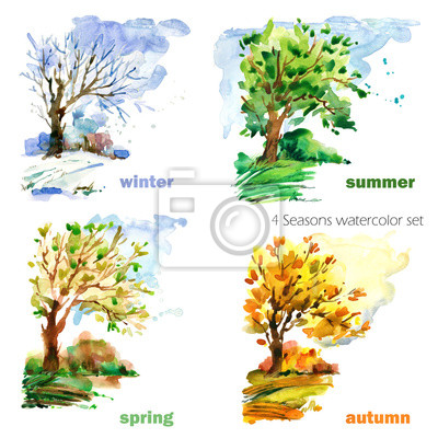 Bild four seasons watercolor illustration set