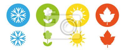 Bild four seasons winter spring summer fall icon set vector illustration EPS10