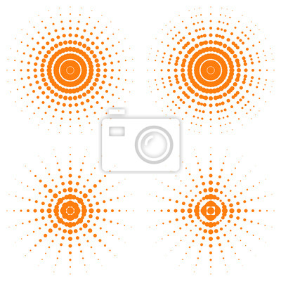 Four variations of a geometric sun depiction. Design for logo, t shirt, bag, illustration etc. Stock vector.