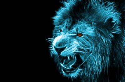 Bild Fractal digitale Fantasiekunst von einem Löwen auf einem isolierten Hintergrund